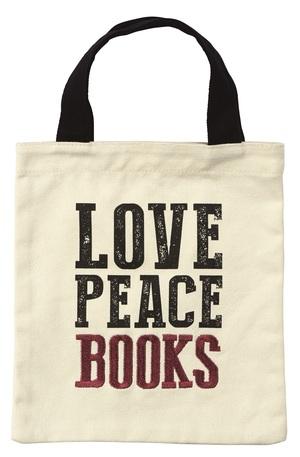 Продукт - Чанта за книги от плат - Love, peace, books