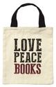 Чанта за книги от плат - Love, peace, books