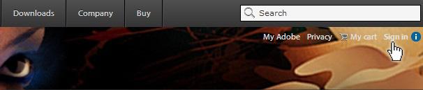 """линк """"Влизане"""" в Adobe.com"""